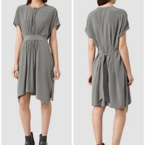 AllSaints Nevis Draped Silk Dress in Gray  A6-19